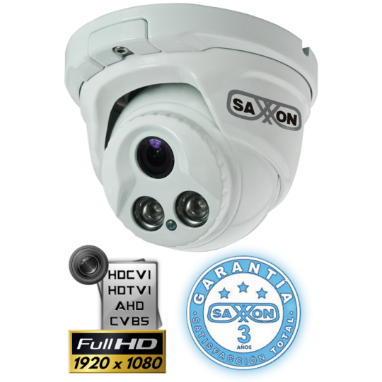 Saxxon nDFX3722CN CAMARA DOMO 1080P 2MP 4 EN 1/CVI TVI AHD CVBS/ 3.6MM/ 2 LED ARRAY 30MTS/ METALICA