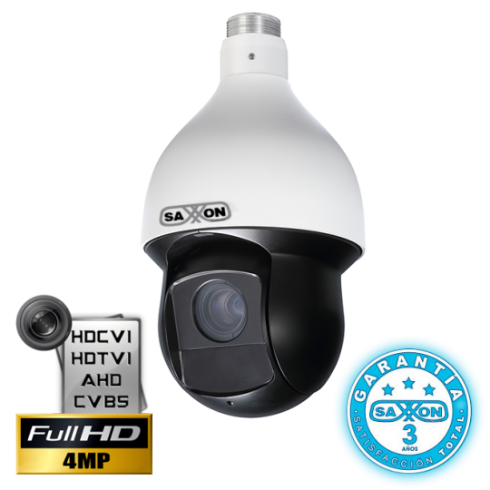 Saxxon PROSD5940TM CAMARA PTZ 30X HDCVI DE 4MP/TVI/AHD/CVBS/ IR 100 M/ WDR REAL 120dB/ IP66/ OSD/ ALARM IN/OUT