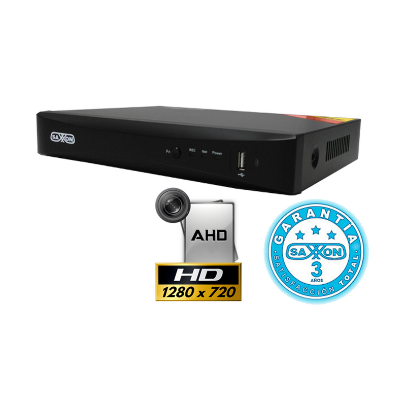 Saxxon SXT2704AS DVR 4 CANALES 720P/ AHD Y ANALOGICO/ ALARMA IN/OUT/4 AUDIOS