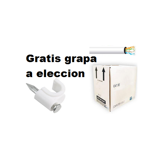 Saxxon UTP5ECCAL01- CABLE UTP BLANCO CATEGORIA 5E Y GRAPA GRATIS A ELECCION / CCA/ BOBINA 305 MTS/ REDES/ VIDEO/4 PARES