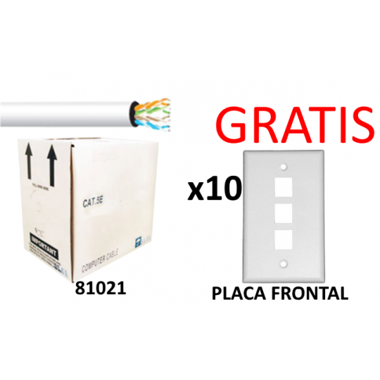 Saxxon UTP5ECCAL02PAK01- CABLE UTP GRIS CATEGORIA 5E + GRATIS 10 PLACAS FRONTALES/ BOBINA 305 MTS/ REDES/ VIDEO/ 4 PARES