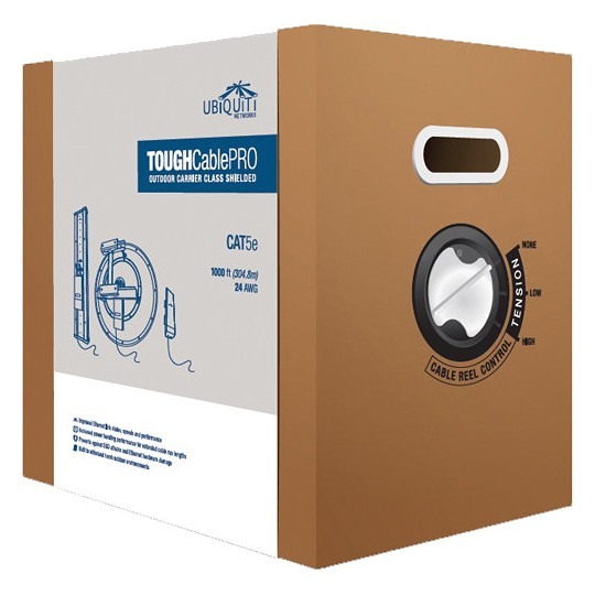Ubiquiti TCPRO- CABLE ETHERNET DE EXTERIOR/ BLINDAJE NIVEL 1/ CAT 5E/ CABLE DE DRENADO DE DESCARGAS/ 305 METROS