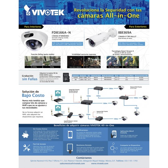 Vivotek ALLINONEKIT1 - VIVOTEK ALL IN ONE KIT/ INCLUYE 1 CAMARA BULLET IB8369A O DOMO FD8169A