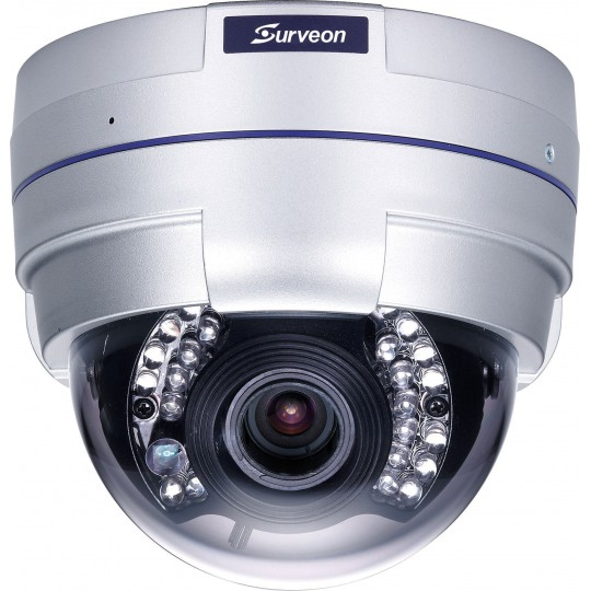 Surveon CAM4321 - CAMARA IP DOMO FULL HD 2 MP/INTERIOR/ VARIFOCAL 2.8 A 12MM/ IR 20 MTS / DIA Y NOCHE /TRIPLE CODEC